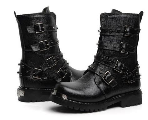 inspirasi sepatu kulit manding black leather boot shoes