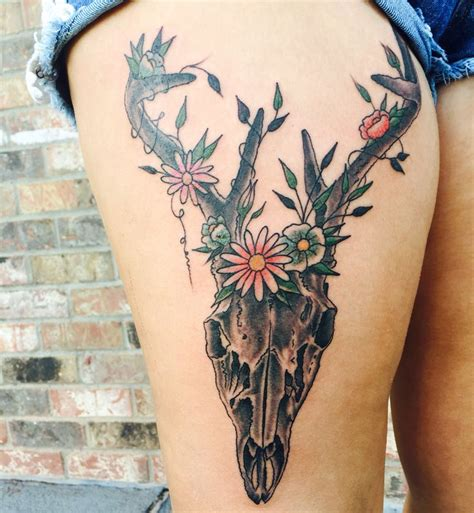 southern tattoos designs deer skull flowers southern in