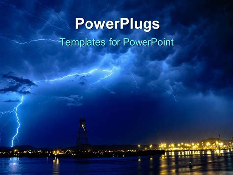 powerpoint templates lightning free powerpoint template lightning storm at night over seaside