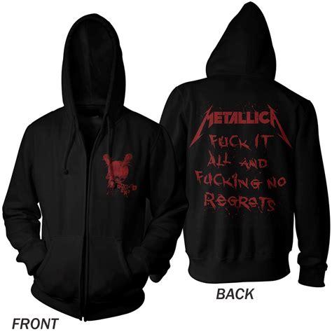 Hoodie Zipper Metalica Cloth planet rock no regrets black zip metallica