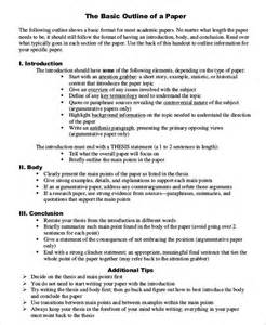 Research Paper Outline Template by Doc 580625 Research Paper Outline Template Research