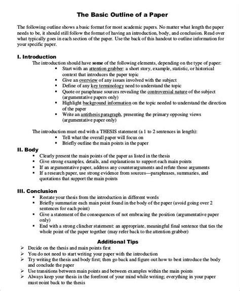 printable research paper outline template   word
