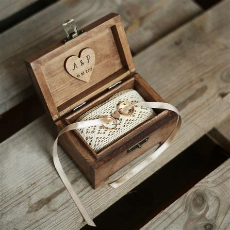 Wedding Ceremony Ring Box by Personalized Wedding Ring Box Rustic Wooden Ring Box
