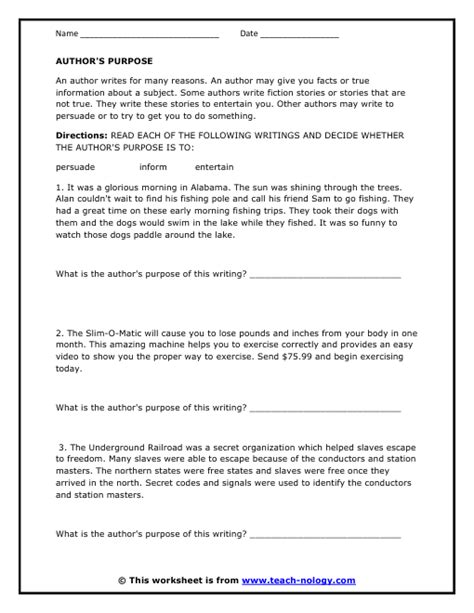 Author S Purpose Worksheet by Determine The Author S Intent Version 1