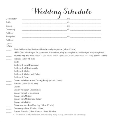96 wedding party itinerary coral wedding program