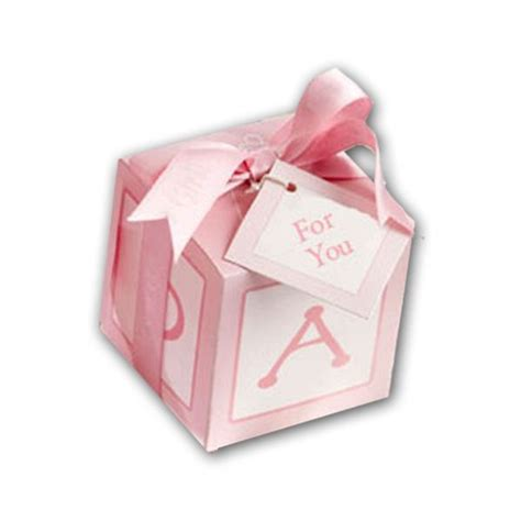 For Baby Shower Favor Boxes classic baby shower block favor boxes pink paperstyle