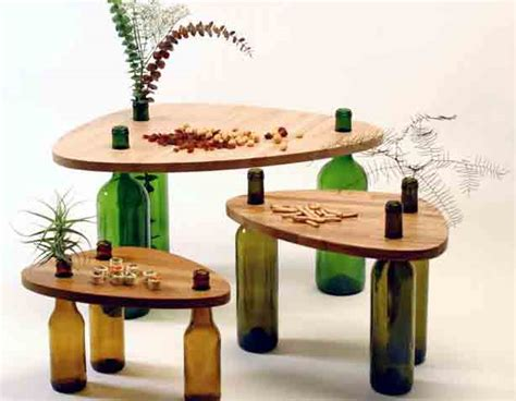 furniture recycling user designed table using recycled wine bottles urban