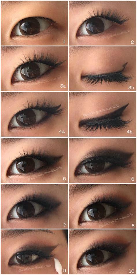 winged eyeliner tutorial asian monolid make up tutorial smoked out winged eyeshadow