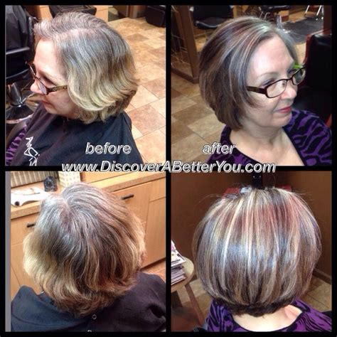 white highlights to blend in gray hair medium natural level 5 with 50 gray added level 6