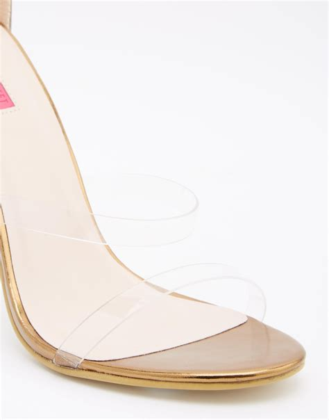 barely there gold sandals lyst gold with clear barely there
