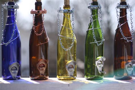 Handcrafted Wine - glass wine bottle bird feeder bird houses by bottlesuncorked