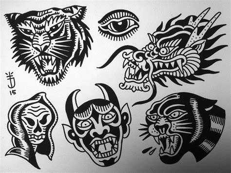 tattoo flash home decor planche tatouage old school tattoo joris flash tigre