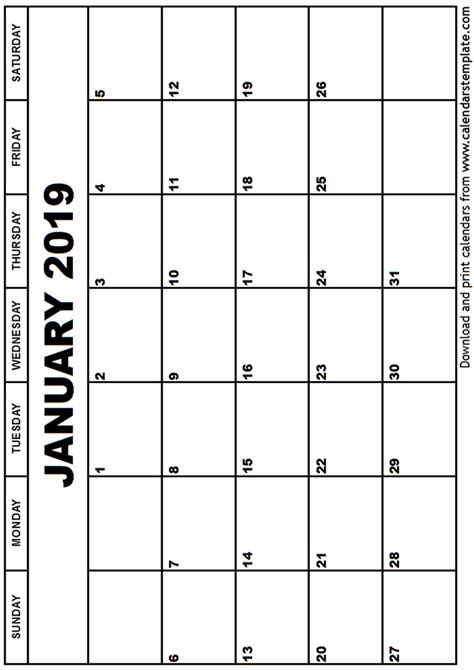 January 2019 Calendar Printable January 2019 Calendar Template