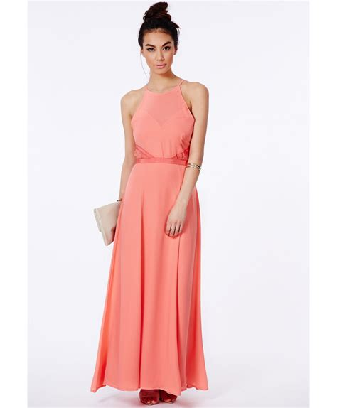 Maxi Dress Clutc Ready Pink missguided kamilinka lace backless maxi dress in coral in