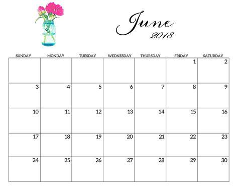 june 2018 blank calendar printable pdf word image 2018 2019