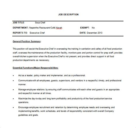 sous chef job description template 8 free word pdf