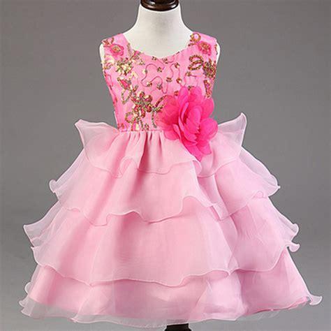 Dress Kid Pink 2015 new foreign high quality dress summer children festival flowers dress new pink