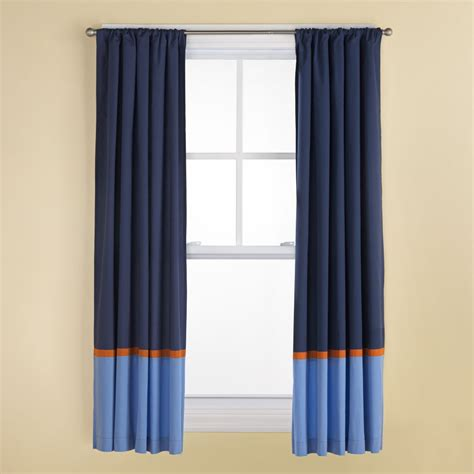 Orange Panel Curtains Curtains Navy And Light Blue Curtains With Orange Trim The Land Of Nod