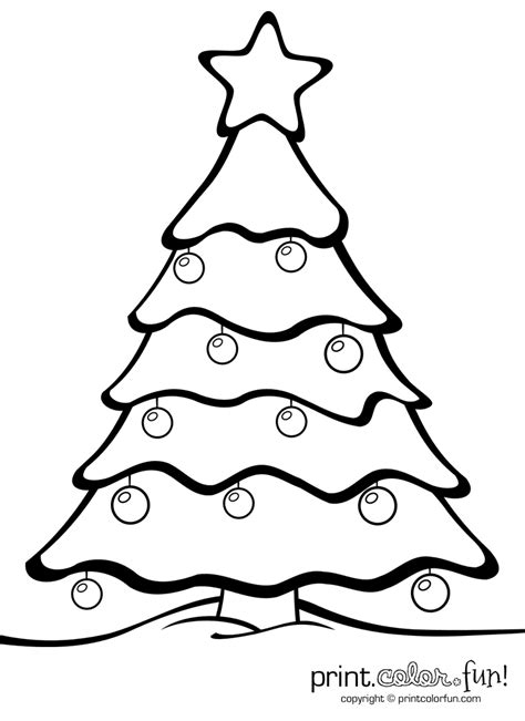 christmas tree with ornaments coloring page print color