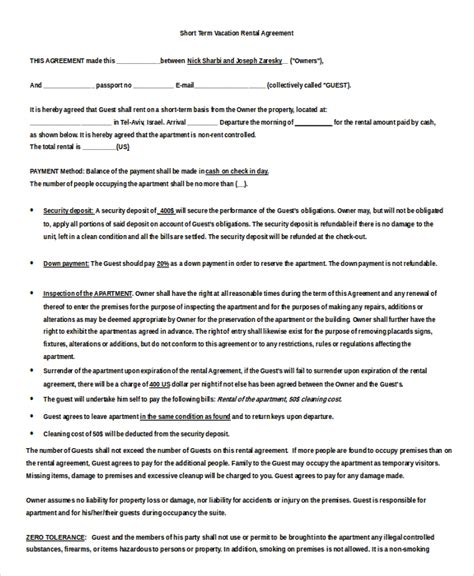 Weekly Rental Agreement Template by Weekly Rental Agreement Template Ten Things You Didn T