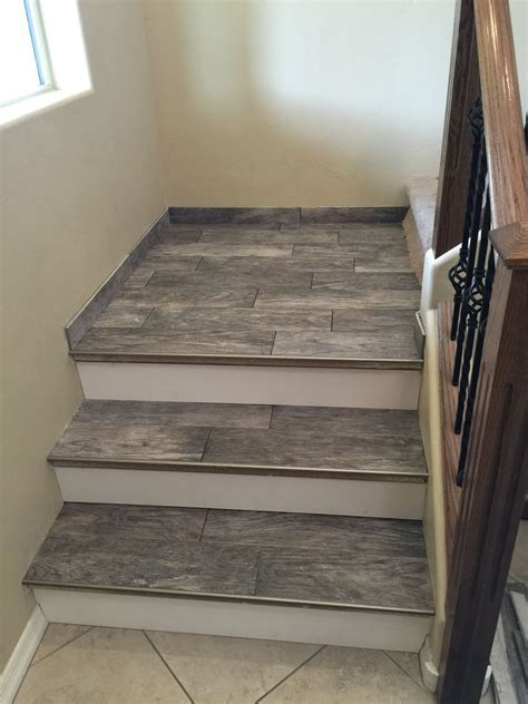 Porcelain wood look tile stairs   Design and build