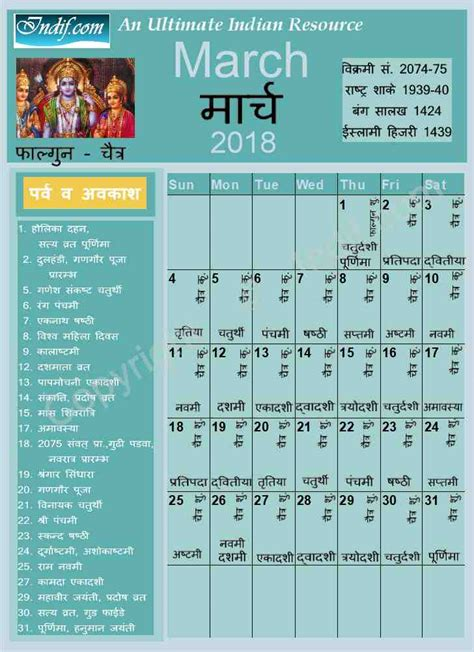 2018 Hindu Calendar March 2018 Indian Calendar Hindu Calendar