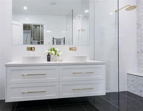 shaker style badezimmer vanity satin white 2 pac shaker style wall hung vanity with gold
