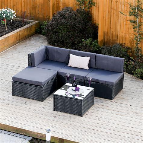 piece faro black modular rattan corner sofa set