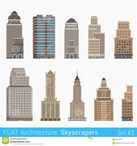 design elements building flat style modern classic buildings skyscrapers set stock