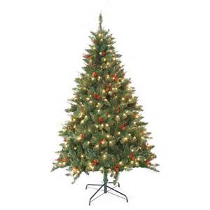 shop jeco 7 ft pre lit berrywood pine artificial christmas