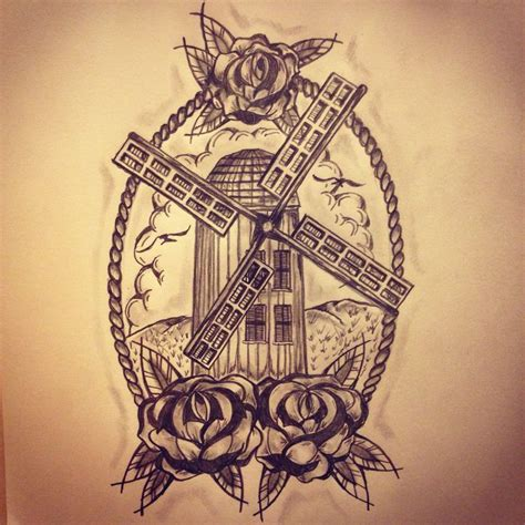 windmill tattoo new traditional windmill sketch by ranz