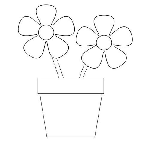 Coloring Pages Of Flowers In A Pot | flower pot coloring pages flower coloring page