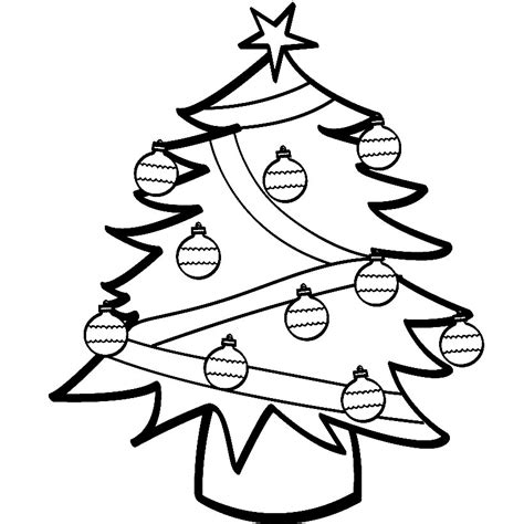 Christmas Tree Line Drawing Cliparts Co Tree Coloring Page With Ornaments