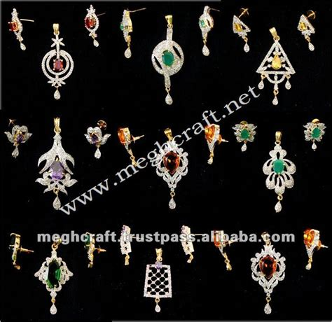Set Perhiasan Berlian Permata Imitasi Zircon Set 1 bentuk merak anting kundan meenakari anting panjang