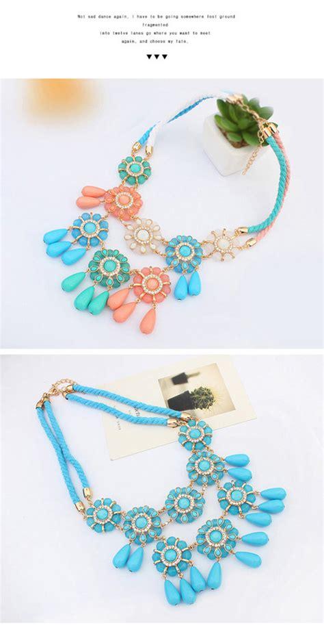 Kalung Gemstone Decorated Flower Design 1 ethnic pink gemstone decorated flower design alloy bib necklaces asujewelry