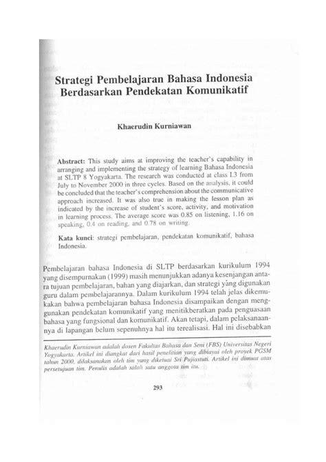 Pembelajaran Kreatif Bahasa Indonesia Heru Kurniawan strategi pembelajaran bahasa indonesia berdasarkan pendekatan komunikatif pdf free