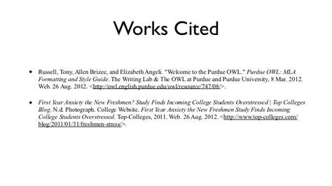 work cited layout for websites in text citation works cited