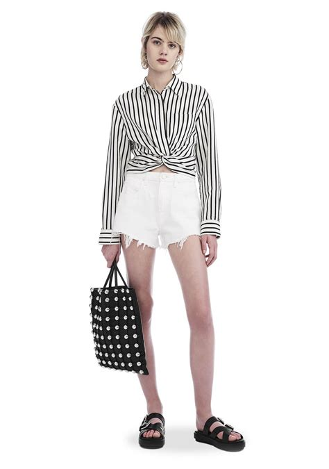 Stripe Twist Crop Baju Rajut Korea wang striped twist front crop sleeve shirt top official site
