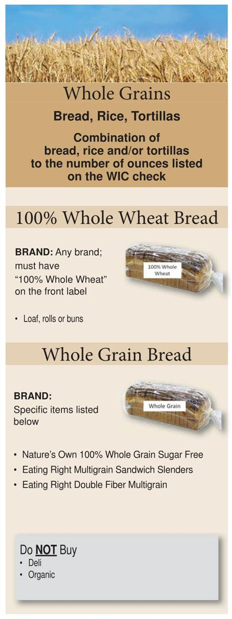 whole grains on wic colorado wic food list