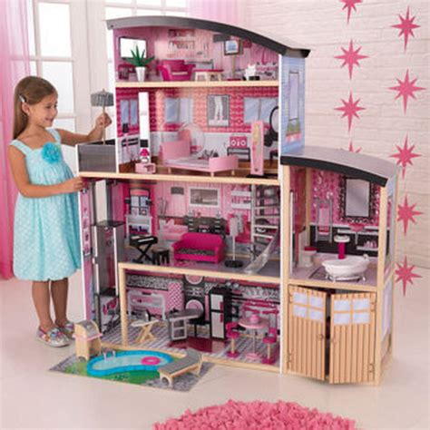 wooden barbie doll house new kidkraft sparkle mansion 4 story kids wood doll house dollhouse fits barbie ebay