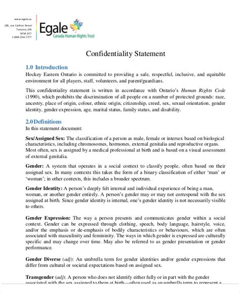 statement of confidentiality template sle confidentiality statement 10 exles in word pdf