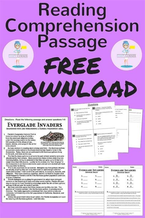 reading comprehension test teachers 152 best reading comprehension passages images on