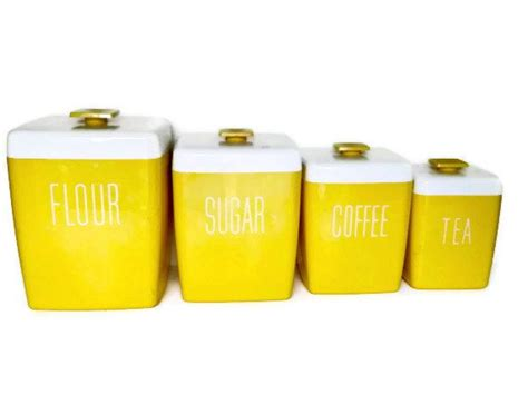 yellow kitchen canister set vintage yellow canister set kitchen canister set