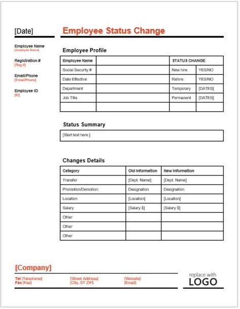 employee status change form template word excel templates