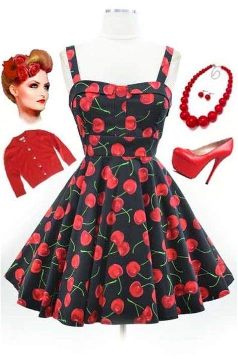 50s vintage cherry print dresses clothing collection
