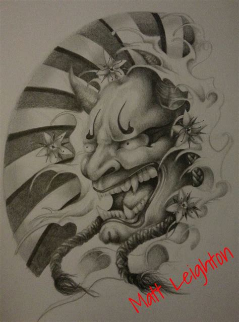 japanese hannya mask design by mattleightonart on deviantart