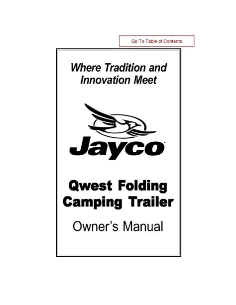 Jayco Fold Down Pop Up Tent Trailer Owners Manual 2002