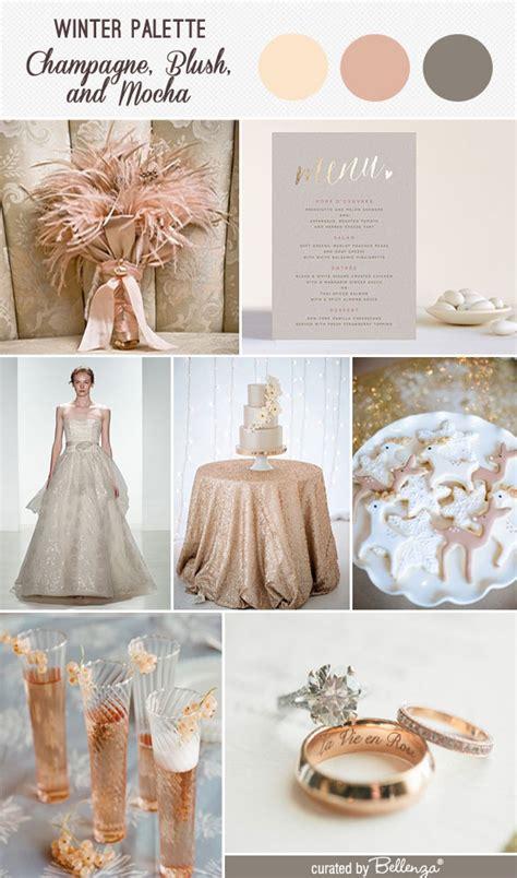 champagne blush  mocha   modern winter wedding