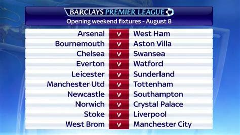 epl weekend fixtures premier league unveils schedule for 2015 16 season world