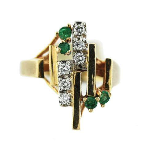 14k yellow gold emerald ring boca raton